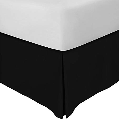Utopia Bedding Bed Skirt - Soft Quadruple Pleated Dust Ruffle - Easy Fit with 16 Inch Tailored Drop - Hotel Quality, Shrinkage and Fade Resistant (Queen, Black)