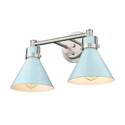 Zeyu 2-Light Bathroom Vanity Light, Modern Bathroom Wall Light Fixtures, Blue and Brushed Nickel Finish, ZY26-2W SF