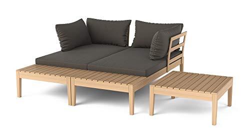 ARTELIA Mira Holz Loungemöbel - Gartenmöbel-Set für Garten, Wintergarten und Balkon, Terrassenmöbel Sitzgruppe, Natur Akazie