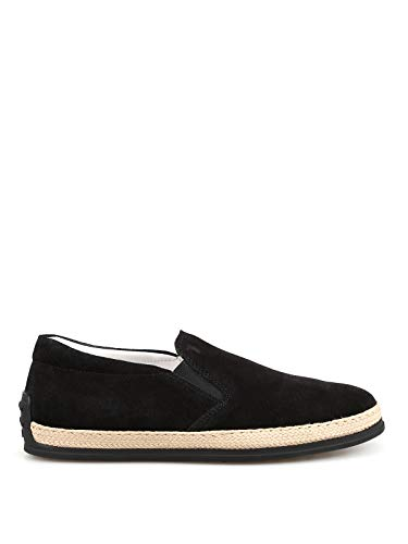 TOD'S Black suede espadrilles style slippers