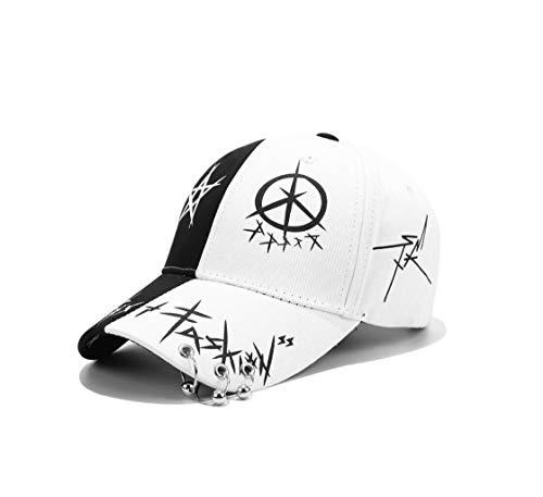 XibeiTrade Unisex Graffiti Baseball Cap Hiphop Schwarz Weiß Hut Mode für Männer Frauen, Unisex-Erwachsene, Ring schwarz/weiß, Medium