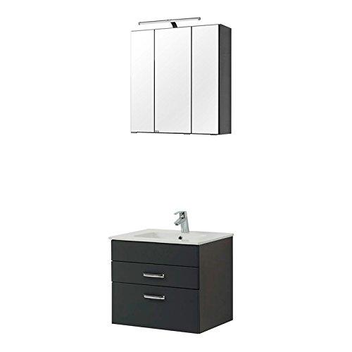 Badezimmermöbel Waschtisch & Spiegelschrank Set in matt grau oder Buche Iconic mit 60cm Keramik-Waschtisch & LED-Spiegelschrank, B x H x T ca.: 60 x 200 x 48cm