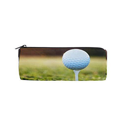 iRoad zylindrische Federmappe Golfball Sonnenuntergang Gras Schreibwaren Aufbewahrungstasche Tasche mit Reißverschluss Federmäppchen für Teenager Mädchen Jungen Schule