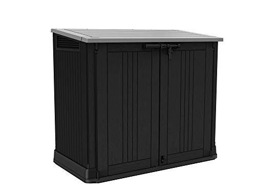 Keter Store it Out Nova Outdoor Garden Storage Shed, 32 x 71.5 x 113.5 cm, Dark Grey with Light Grey Lid