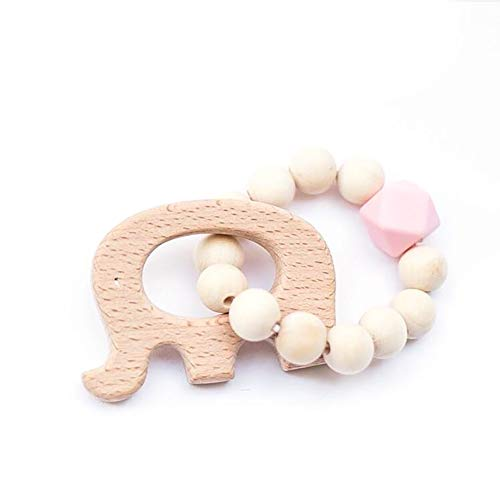 Dentition en bois perles bébé hochet dents Nattural RAW crochet perles jouet maman ecofriendly Baby dentition 1 PC-Elephant