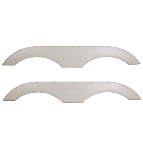 JMTAAT New Pair of Tandem Trailer Fender Skirt Compatible with RV Campers and Trailers - Pewter White Left+Right