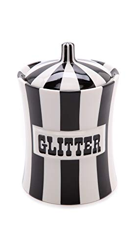 Jonathan Adler Women's Glitter Canister, Black/White, One Size