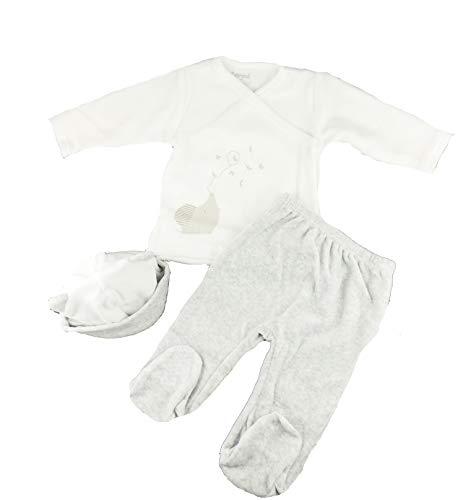 Super Leuke Baby Meisjes Fluweel 3 Stuk Gift Set Lange Mouw Top, Broek & Hoed 3 Months (62cm) Grijs