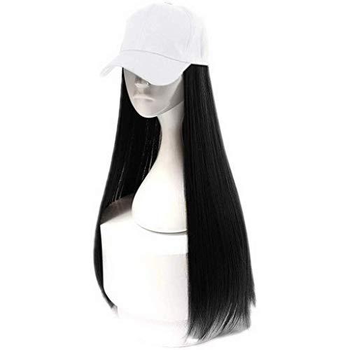 EQWR Haarteile Baseball Cap mit großen lockigen Perücken, 2 in 1 lange lockige Welle Perücke Kappe Hut, 24 Zoll langes Haar, weibliche natürlich aussehende Perücken E