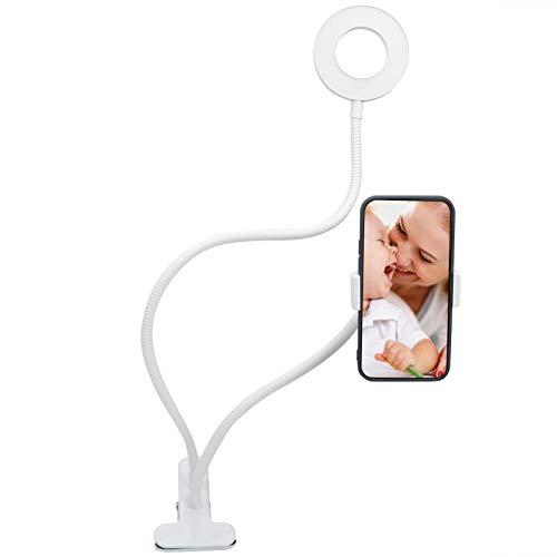 Labuduo Luz de Anillo para Selfies, fácil de operar con luz de Anillo de Cabeza esférica de 360 Grados, 3 Modos Ajustables para Maquillaje en Vivo