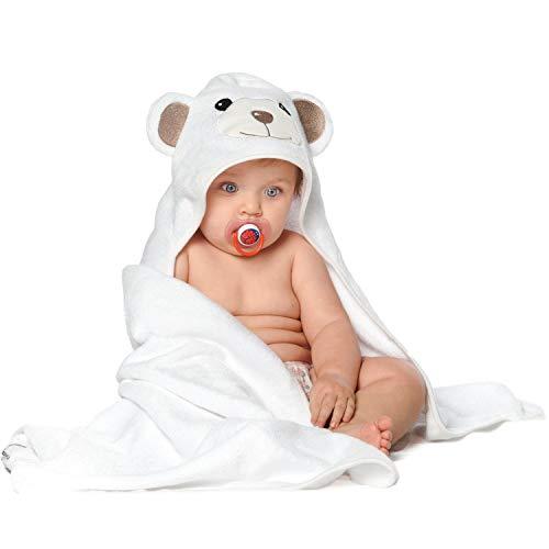 JoJo Asciugamano | Orsetto per Bambini EXTRA SOFFICE | Asciugamano da Bagno 100% in Cotone Naturale | Perfetto per la Doccia E Bagnetto dei Bambini | Per Neonati o Bimbi Piccoli Da 3 Mesi - 2 Anni