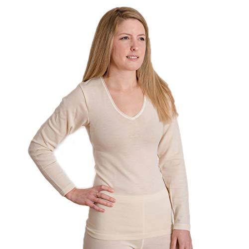 Hocosa Women's Long-Underwear Shirt, Long Sleeve, V-Neck, in Organic Merino Wool, Natural White, s. 44/US 14