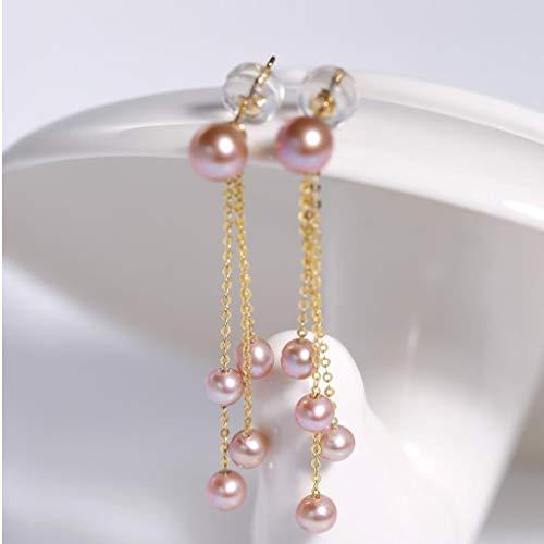 YUHUA-SHOP1983 Aretes Pendientes Brillantes Perlas de Agua Dulce Pendientes de la Borla de Oro 18K, señoras de joyería de Perlas (Blanco) para Mujeres (Color : A)