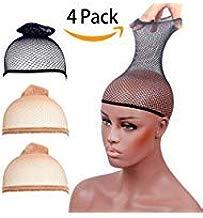 STfantasy 4 Pack peluca tapas extremo abierto de malla elástica peluca y Net Redecilla para moño PELO peluca Weaving Cap Nude Beige + Negro