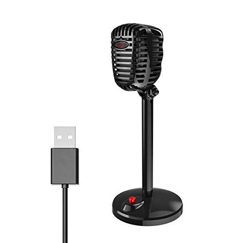 LIUCHEN micrófonoMicrófono de Condensador Puerto USB para computadora Micrófono de Estudio para Tarjeta de Sonido de PC Micrófonos de Karaoke Profesionales Grabación en Vivo, USB Negro,