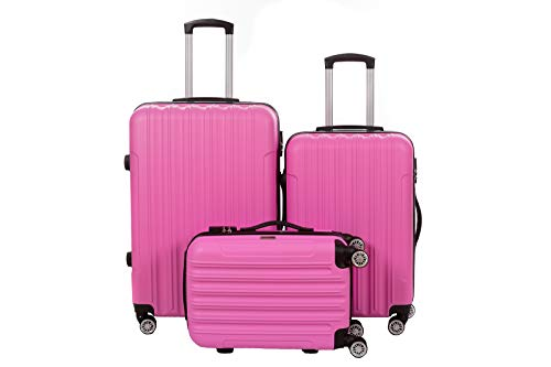Birendy - 3-TLG. Hartschalen Koffer-Set 35004 Trolley mit 4 Rollen, Zahlenschloss und Ausziehgriff - 3 Größen L, XL, XXL und Set - pink