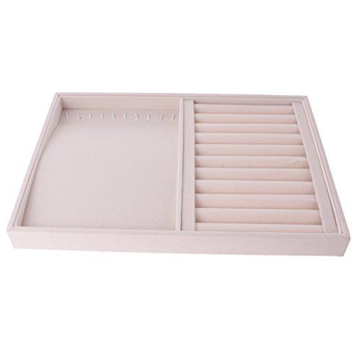 Caja de Alamacenaje de Joyería de Terciopelo con Múltiples Compartimentos Organizador de Pulsera Collar Pendiente - Beige# 6