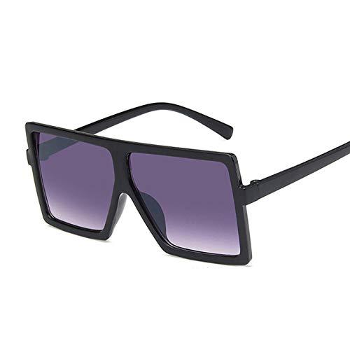 NJJX Gafas De Sol De Gran Tamaño Para Niños, Gafas De Sol Cuadradas De Moda Para Niños Y Niñas, Gafas De Montura Grande Para Exteriores, Espejo Gradiente, Doble Gris