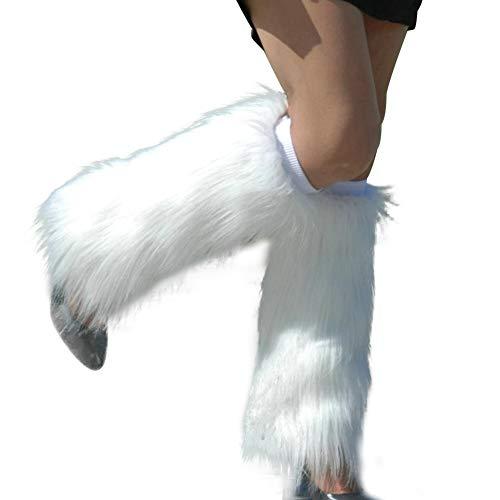 AchidistviQ Scaldamuscoli copristivali in finta pelliccia, morbidi, lunghi, da donna, tinta unita, Pelliccia ecologica, bianco, 40 cm