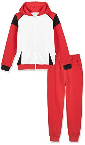 Kid Nation Kids Unisex Soft Brush Fleece Tracksuit Zip up Jacket and Jogger Pants White/Red/Black XL