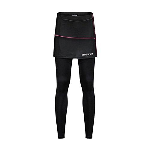 Tentock Damen Cycling Shorts Fahrradhose 3D Gepolsterte, Atmungsaktive Schnelltrocknende Radlerhose zum Laufen Tennis Golf Fitness(Rock mit Leggings,XL)