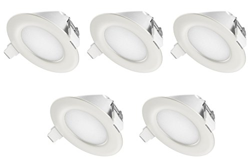 TEVEA PREMIUM LED Einbauleuchte - 230v - LED Einbaustrahler - helles, reines Licht - Deckenspot - Ultra Flach - IP44 - Energieklasse A+ - (5-er set) - Warmweiss