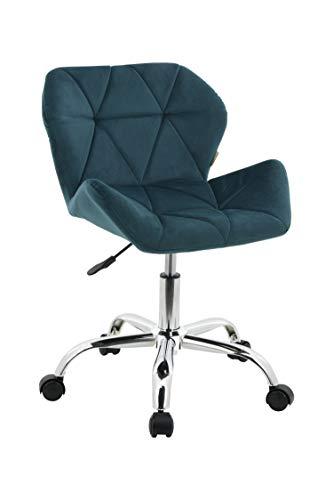 HNNHOME Modern Eris Padded Swivel Fabric Home Office Desk Computer Chair, Height Adjustable (Teal, Velvet)