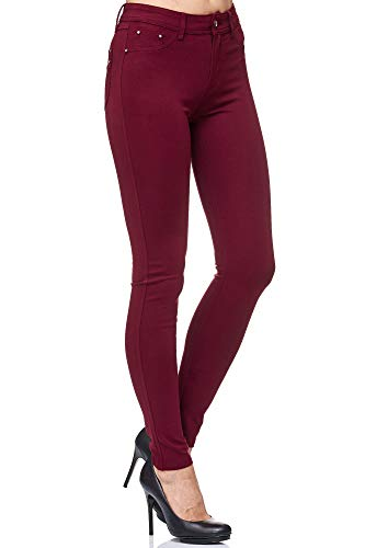 Elara Damen Stretch Hose Skinny Fit Jegging Chunkyrayan H23 Wine 44 (2XL)