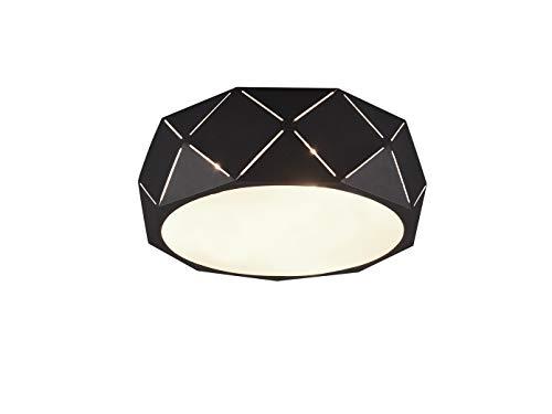 Geometrische led-plafondlamp met lasergesneden metalen kap zwart mat 40cm