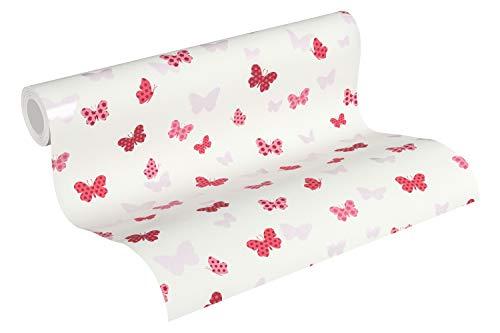 Kindertapete Vliestapete weiß rosa pink weiß mit Schmetterling Kinderzimmertapete 10,05m x 0,53m BEAUTIFUL WALLS 369331