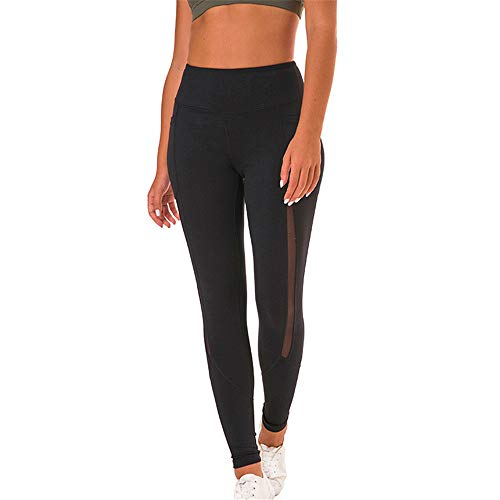 PPPPA Sommer Neue Spleiß Mesh Garn Damen Stretch Yogahosen hohe Taille Laufen Sporthose sexy Hüfte elastische Stretch schlanke Laufmode schlanke Yogahose Sport neun Punkte Hosen Frauen