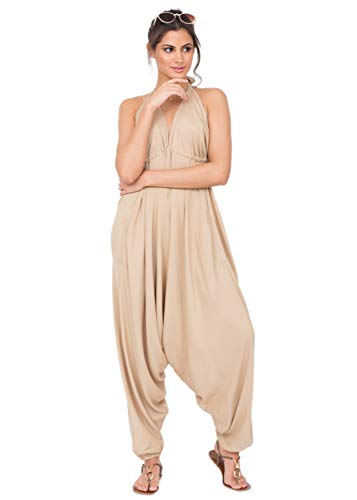 Harem Jumpsuits for Women Bohemian Loose Relax Fit Handkerchief Jumpsuit Spaghetti Strap African Print Rompers Pants