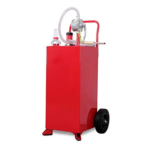 Hypeshops 30 Gallon Gas Fuel Diesel Caddy Transfer Tank Container w/Rotary Pump Auto