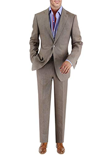 DTI BB Signature Italian Men's 2 Button Linen Suit Modern covid 19 (Taupe Suit Separates coronavirus)