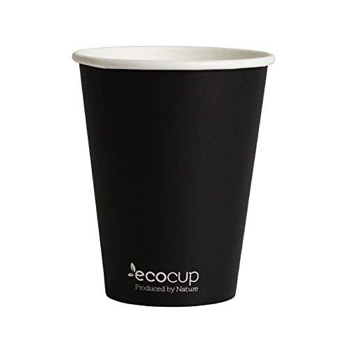 ECOBASED Biologisch Abbaubare Kompostierbare Einweg Pappbecher. Umweltfreundliche Kaffeebecher. 400ml/12oz 50 Stück. Schwarz