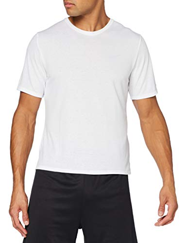 NIKE M NK DF Miler Top SS T-Shirt, Hombre, White/Reflective silv, 2XL