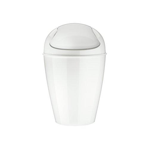 koziol Schwingdeckeleimer 5 L Del S, Kunststoff, solid weiß, 21,6 x 21,6 x 37 cm
