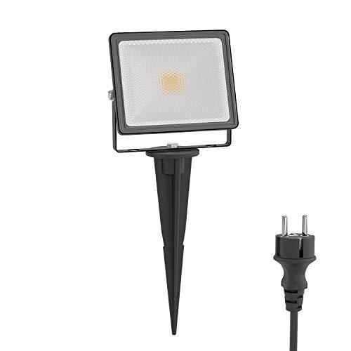 ledscom.de LED Gartenstrahler FLIN mit Erdspieß & Stecker für außen, Scheinwerfer, schwarz, IP66 wasserfest, 10W 800lm warm-weiß