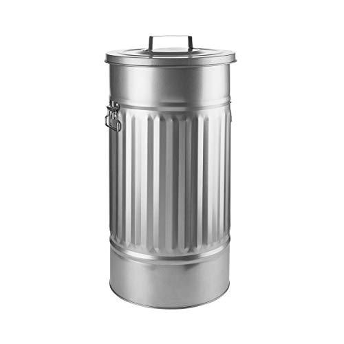 BUTLERS Mülltonne mit Deckel OSKAR - Retro Blechtonne - Mülleimer für Abfall oder Wäsche, Eimer mit 46 Liter, Gesamthöhe 63,8 cm