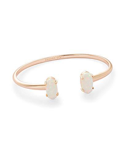 Kendra Scott Edie Cuff Bracelet for Women, Fashion Jewelry, 14k Rose Gold-Plated, White Kyocera Opal