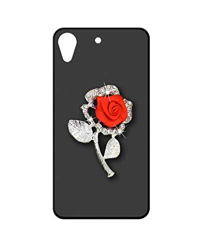 Sunrive Kompatibel mit HTC Desire 650/628 / 626 / 626G Hülle Silikon,Glitzer Diamant Strass Handyhülle matt Schutzhülle Etui 3D Hülle Backcover (Rote Rose) MEHRWEG