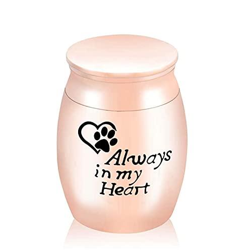 Chutoral Urnas para mascotas, urnas funerarias de cremación con estampado de pata de perro, urnas de acero inoxidable para guardar una pequeña cantidad de cenizas de 30 × 40 mm (oro rosa)