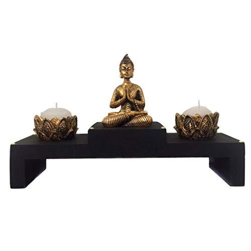Altar com Castiçal de Estátua de Buda Dourado 15cm - 465