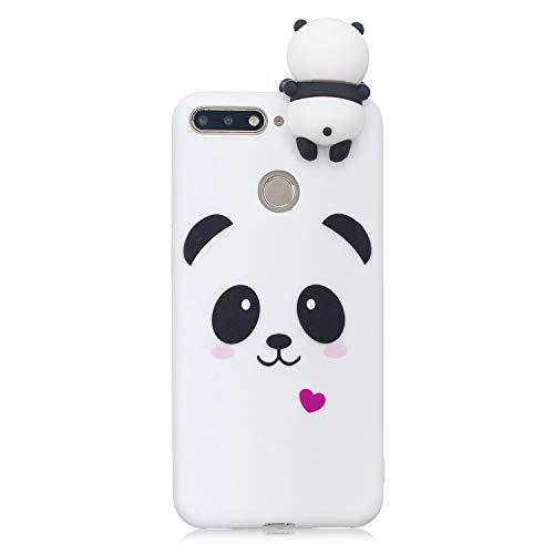 Artfeel Niedlich 3D Karikatur Panda Hülle für Huawei Y6 2018,Huawei Honor 7A Hülle, Bunt Schön Tier Muster Weich Silikon Handyhülle,Ultra Dünn Flexibel TPU Bumper Stoßfest Schutzhülle-Weiß