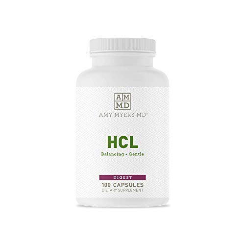 HCL from Dr. Amy Myers - Betaine HCL Supports Maximum Calcium, Magnesium, Iron & Other Mineral Absorption. Dietary Supplement 100 Capsules, 648 mg per Serving - Helps Alleviate Food Sensitivities