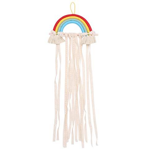 HEALLILY Rainbow Macrame Decoración de La Pared Colgando Pinzas para El Cabello Colgador Diadema Organizador de Almacenamiento Boho Decoración de La Pared para Sala de Estar Dormitorio Bebé Guardería