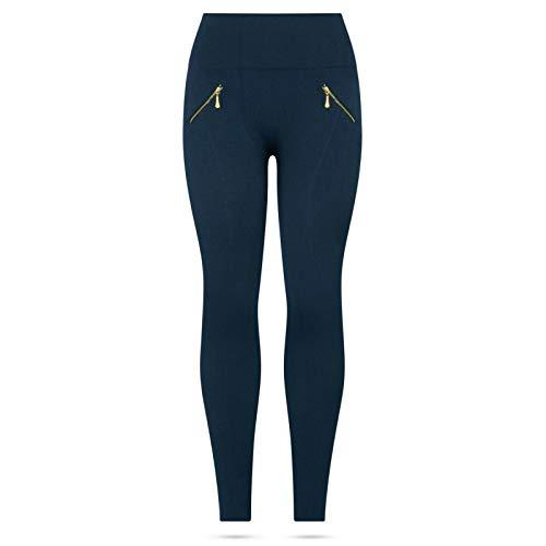 Kendindza Damen Thermo-Leggings gefüttert mit Innen-Fleece Basic Blickdicht Reißverschluss, Blau, S/M