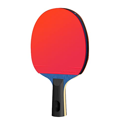 LINGOSHUN Raquetas de Tenis de Mesa Avanzado,Madera de 5 Capas,Paleta de Ping Pong de Competición con Estuche,Diseñado para Rotación / 7 Stars/Short handle