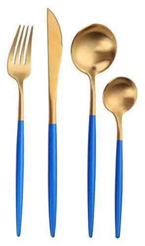 ZJSXIA Blue Gold Cutlery 4 Pieza Set 304 Acero Inoxidable Mate Steak Cutlery Western Vajilla Duradero Hermoso Portátil Set-Four-Four-Piece Traje Cuchillo y Tenedor