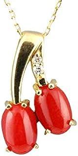 【セール品】日本産 赤 珊瑚 サンゴ チェリー サクランボ プチ ネックレス 18k イエロー ゴールド ダイヤモンド プレゼント 御守り 記念日 3月誕生石